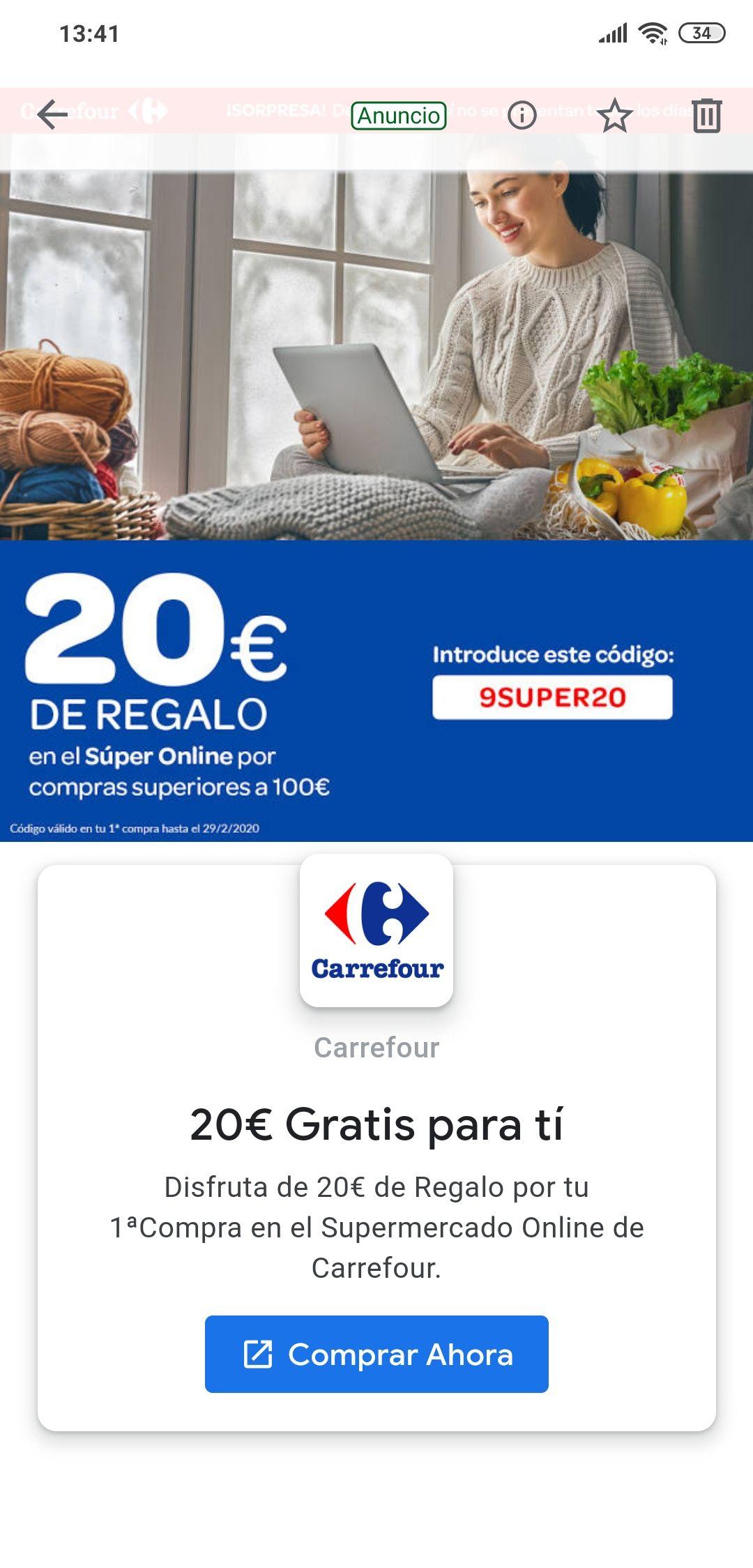 20€ gratis Carrefour compras superiores a 100€