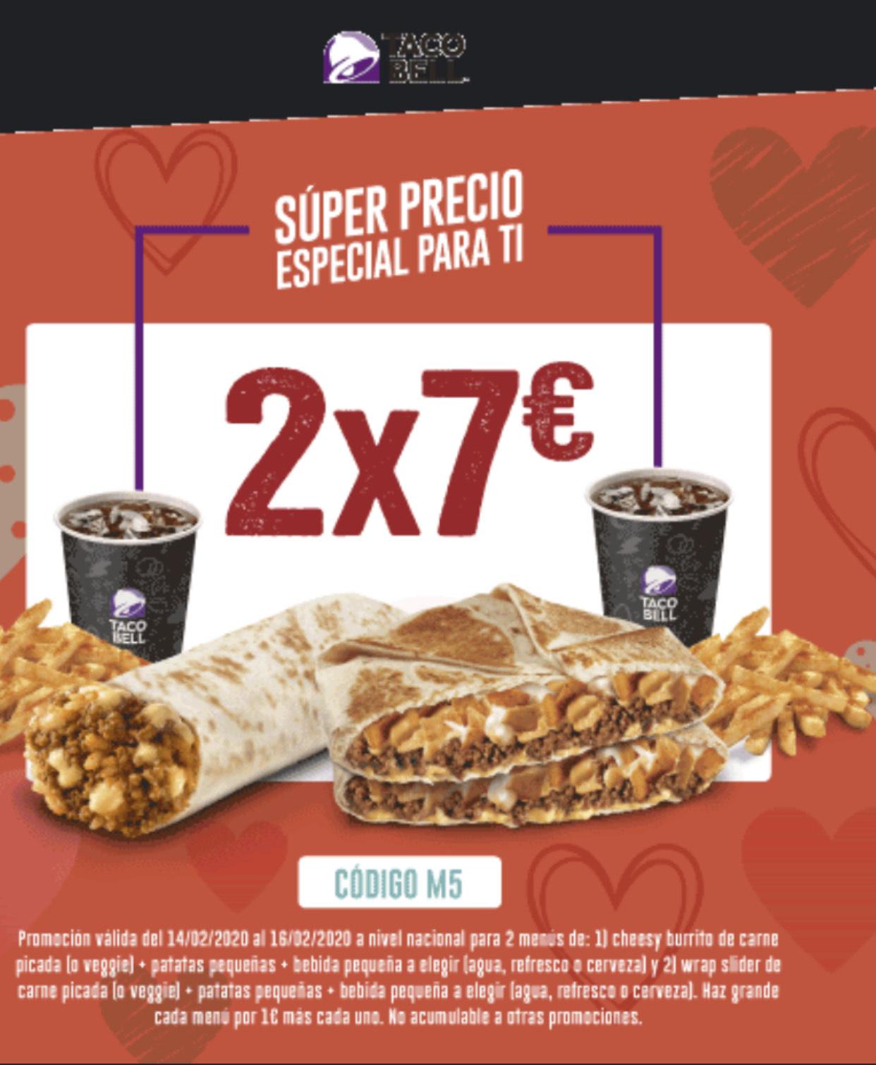 2 menús en Taco Bell por 7€