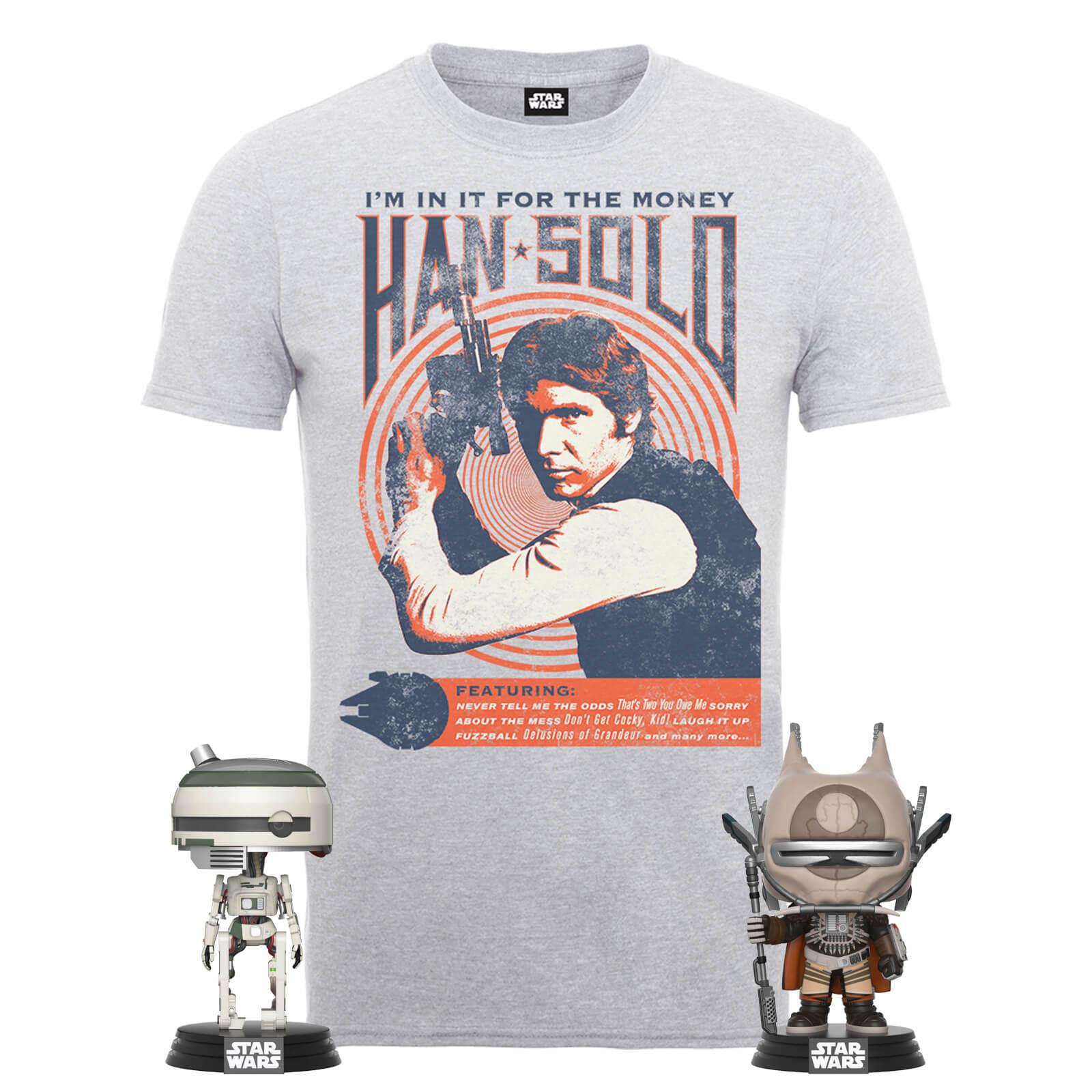 Camiseta Han Solo +2x Funko Pops solo 18.4€
