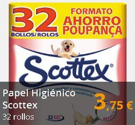 Papel higiénico Scottex 32 rollos (0,12€/rollo)