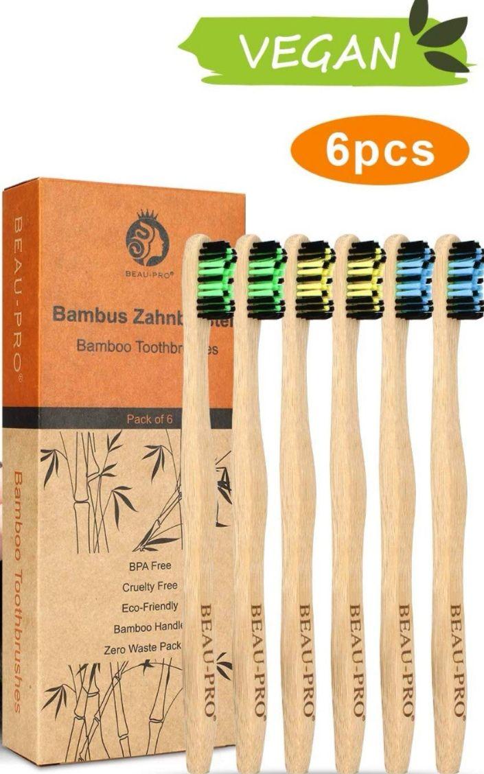 (Pack de 6) Cepillos de dientes de bambú BEAU-PRO: Ecológicos. (1.41€ la unidad).