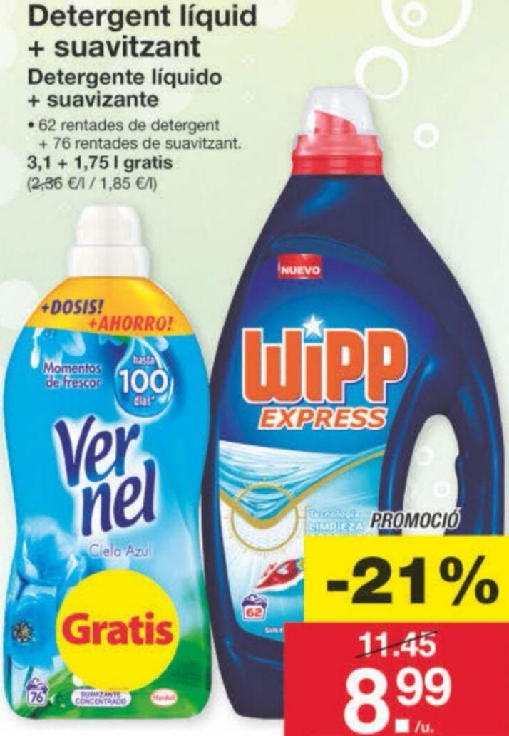 Detergente liquido Wipp express + REGALO suavizante Vernel en LIDL