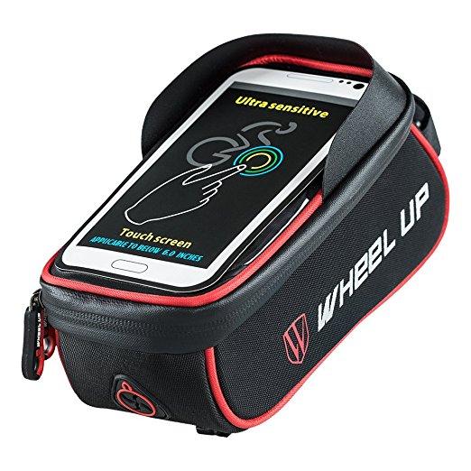 Bolsa Bicicleta Impermeable con Pantalla PVC Transparente Táctil para Teléfonos Móviles 6.0 inches Negro & Rojo