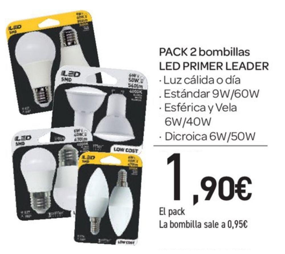 2 bombillas LED estándar, esférica, vela o dicroica