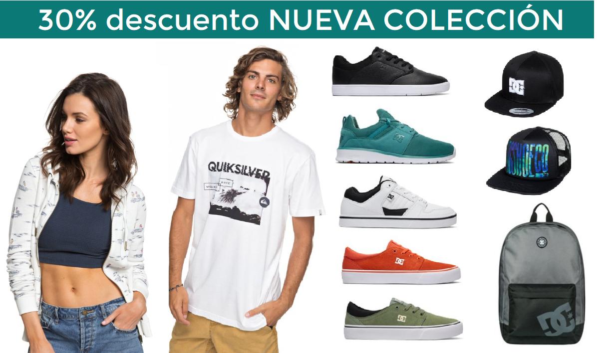 30% de Descuento en la nueva colección de Quiksilver, Roxy, DC Shoes