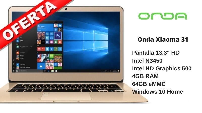 Ultrabook Onda Xiaoma 31, FullHD IPS 13.3″, Intel Celeron N3450, 4/64GB, 5000mAh. Precio app