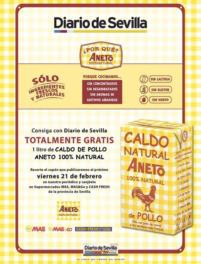 Gratis Brick de 1 litro de Caldo de Pollo con Diario de Sevilla