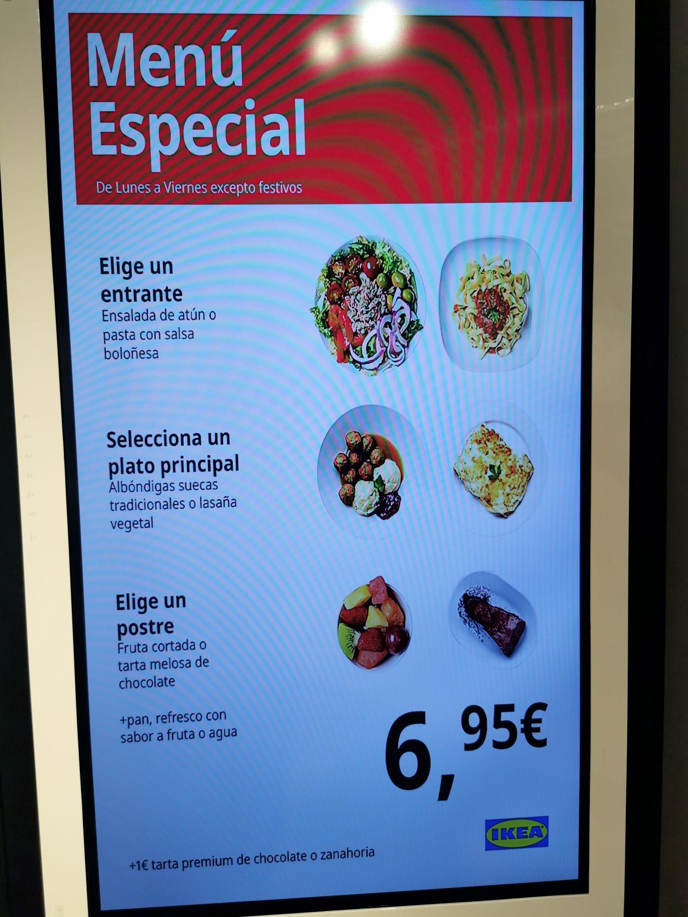 Menú en Ikea 6,95€