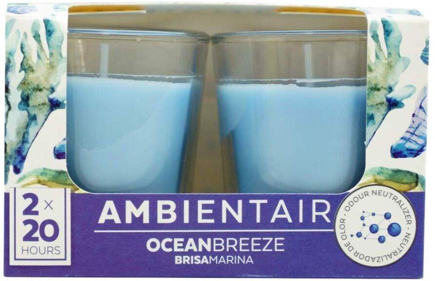 Juego de 2 velas aromáticas en vaso de cristal con 20 horas de duración cada una