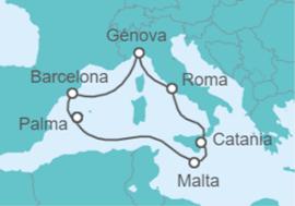 8 días de crucero por el mediterráneo por 207€ desde Barcelona