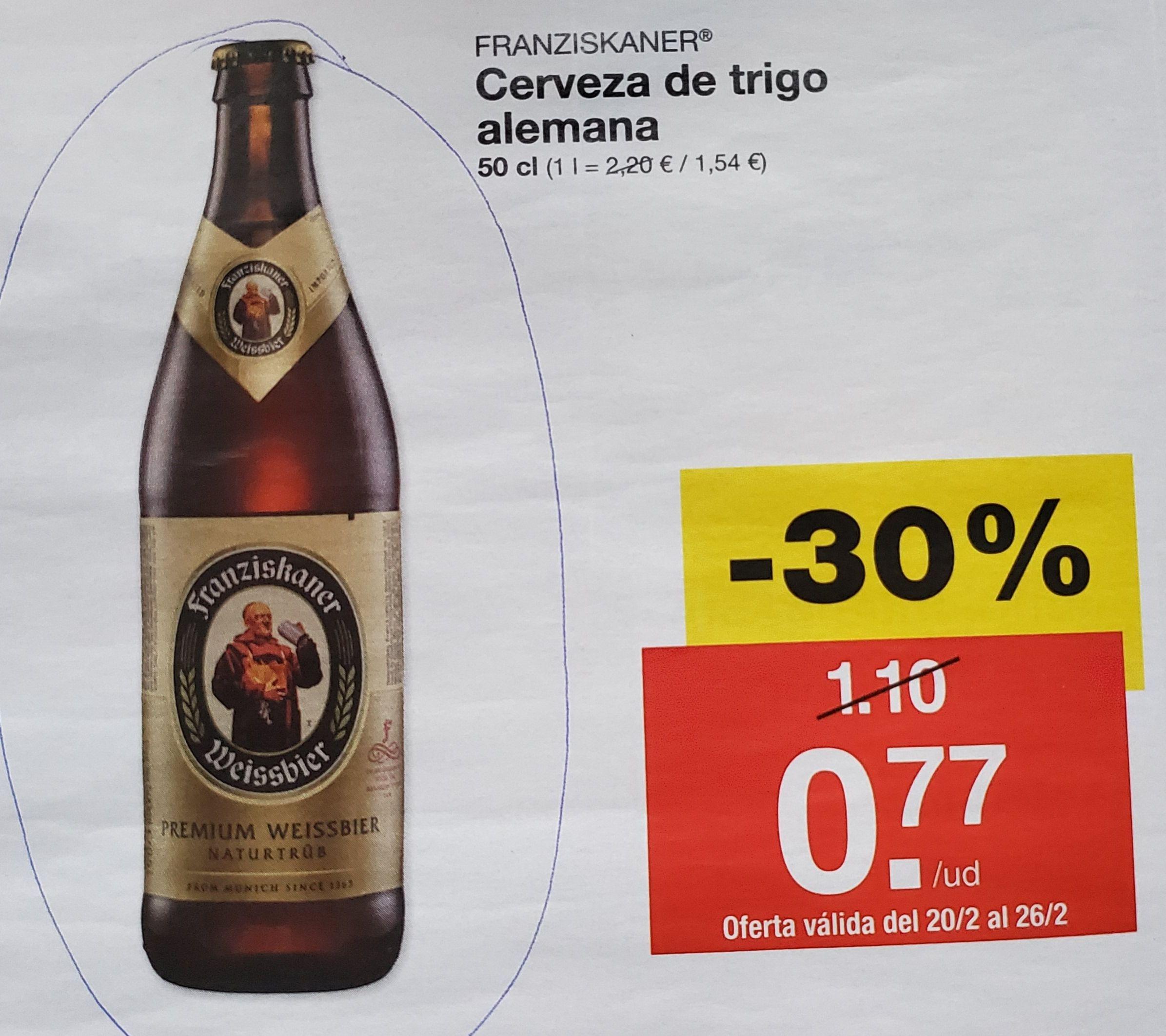 Cerveza de trigo alemana franziskaner de 50 cl