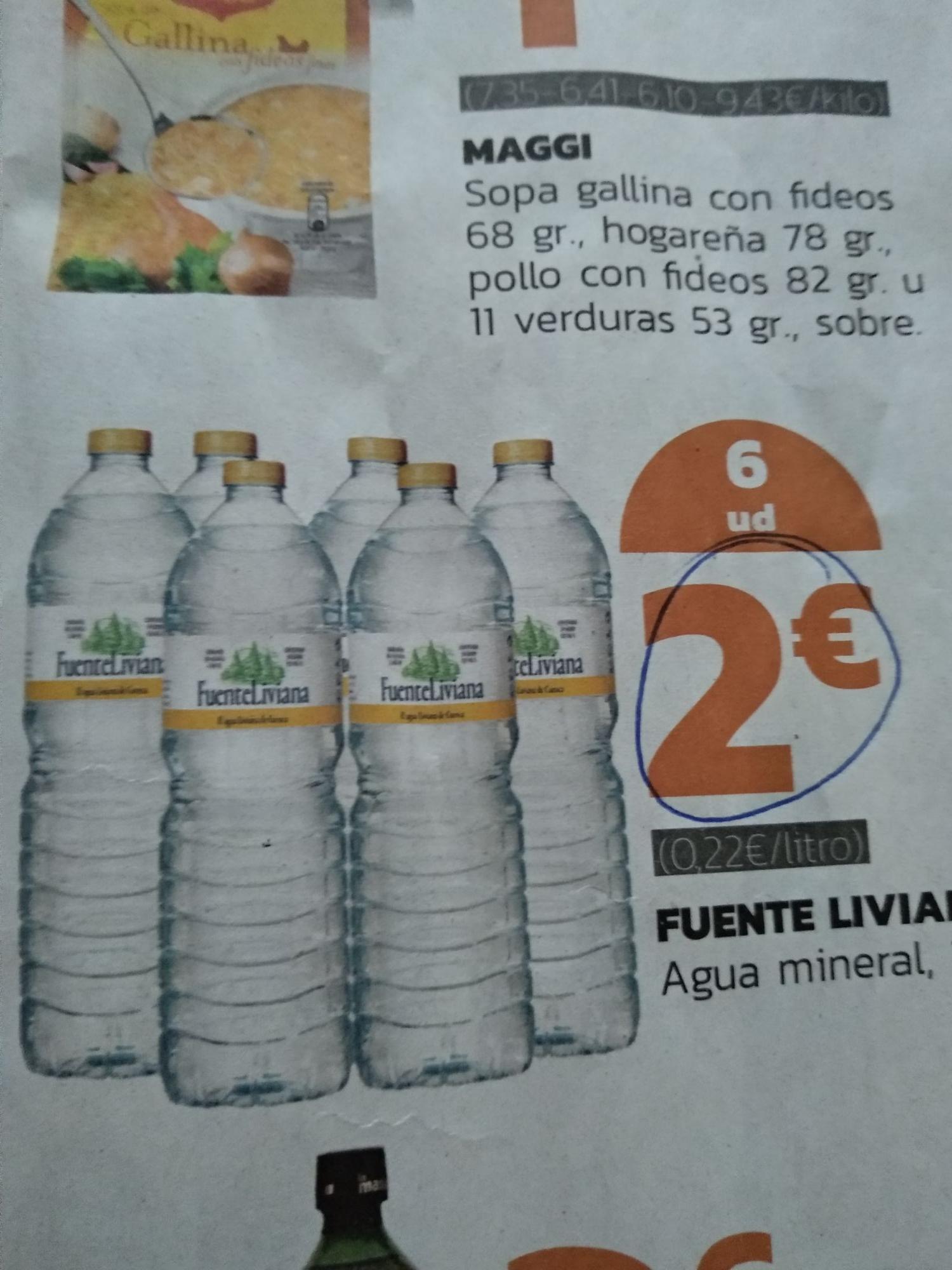 Agua Fuente Liviana. 6 unidades, 2€