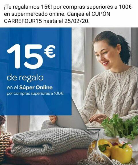 Más cupones de 15€ en 100€ para el supermercado de Carrefour