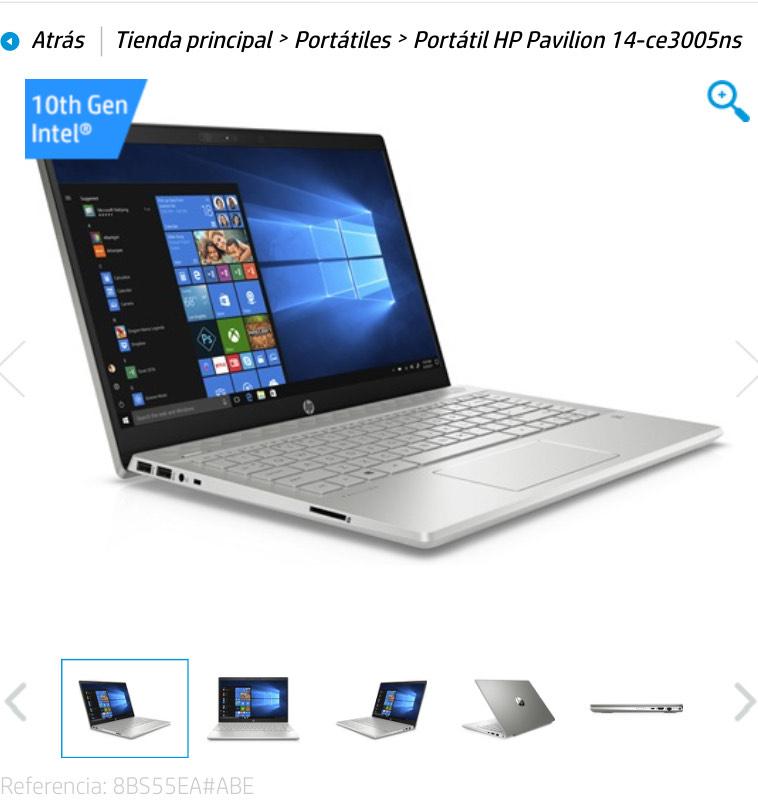 Portatil HP Pavilion 14 FHD, Core™ i7-1065G7, 16GB RAM, 512GB SSD, GeForce mx 250 4Gb