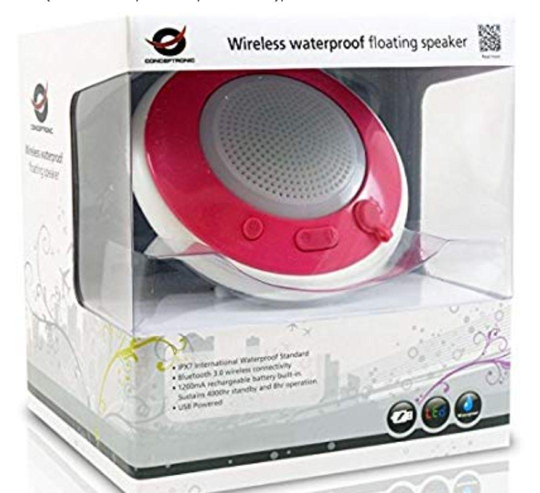 Conceptronic Floating Speaker - Altavoces portátil de 3 W (4 Ohmios, 83 dB, 3.5 mm), Rosa