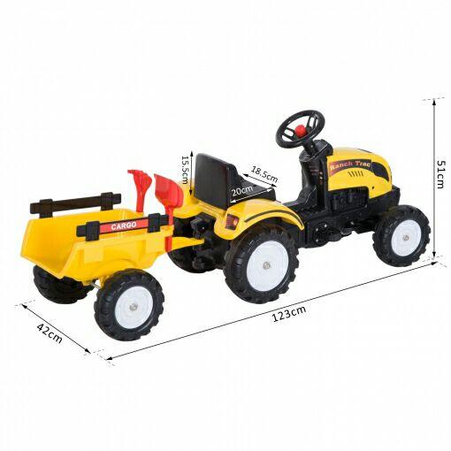 Tractor a pedales con remolque Homcom. Solo Online