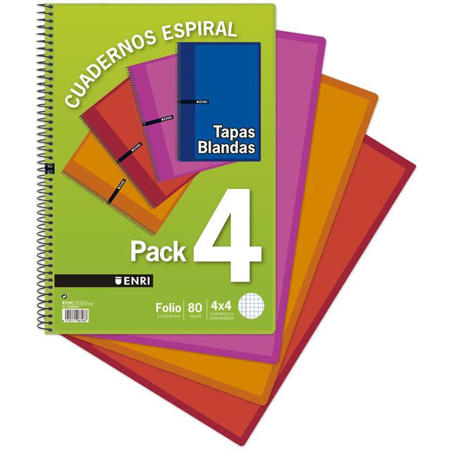 Pack de 4 cuadernos Enri de 80 hojas tamaño DIN A4 (cuadrícula y margen) sólo 1€