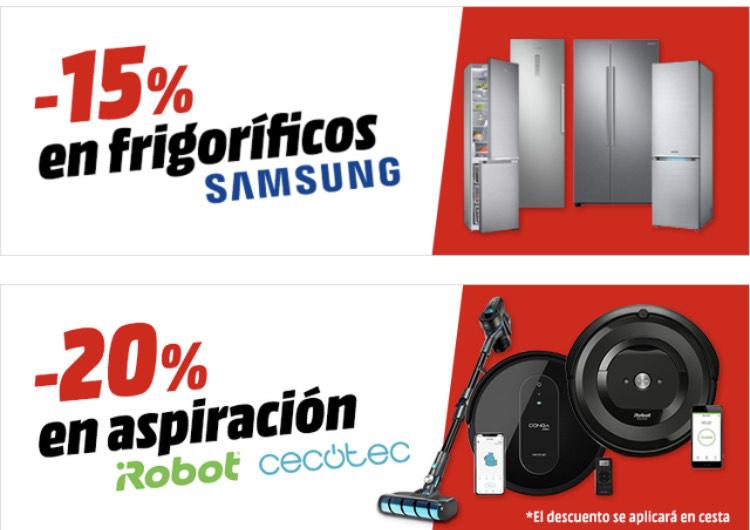Descuento en frigoríficos Samsung y aspiración de iRobot y Cecotec