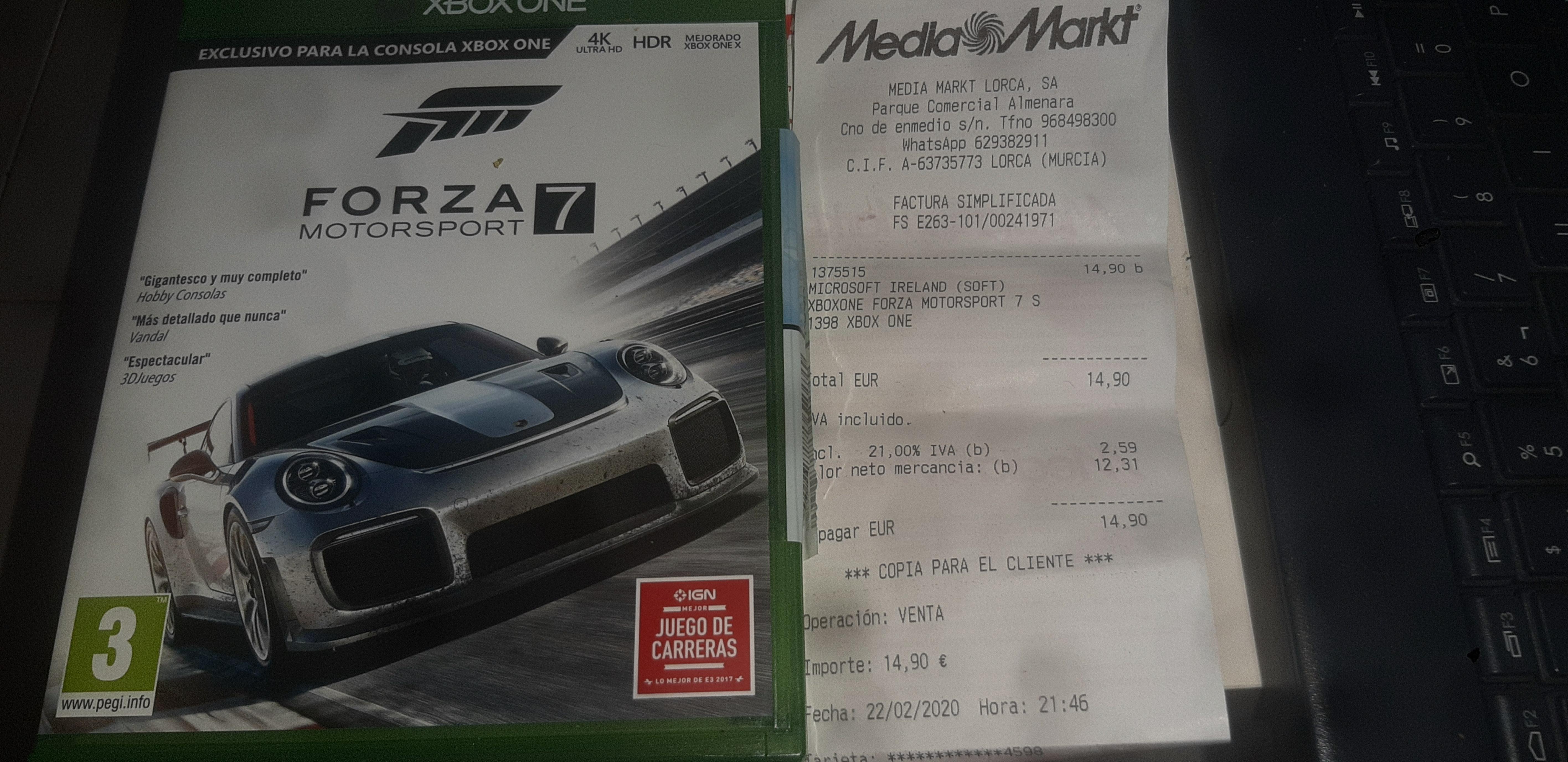 Forza Motorsport 7 Xbox One 14,90€ Mediamarkt Lorca
