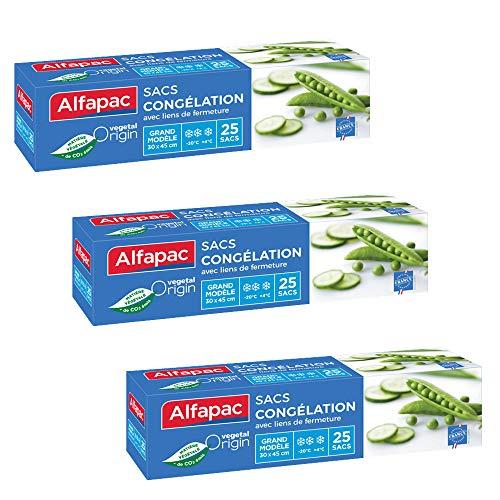 Alfapac – 25 Bolsas de congelación con Enlace – Vegetal Origin – Lote de 3 Bolsas de tamaño 30 x 45 cm