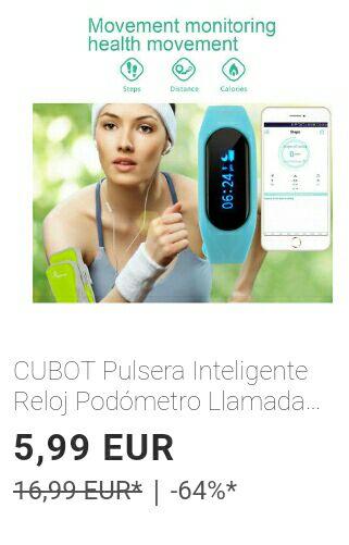 CUBOT Pulsera Inteligente Reloj Podómetro Llamada SMS Anti-Perdido Despertador