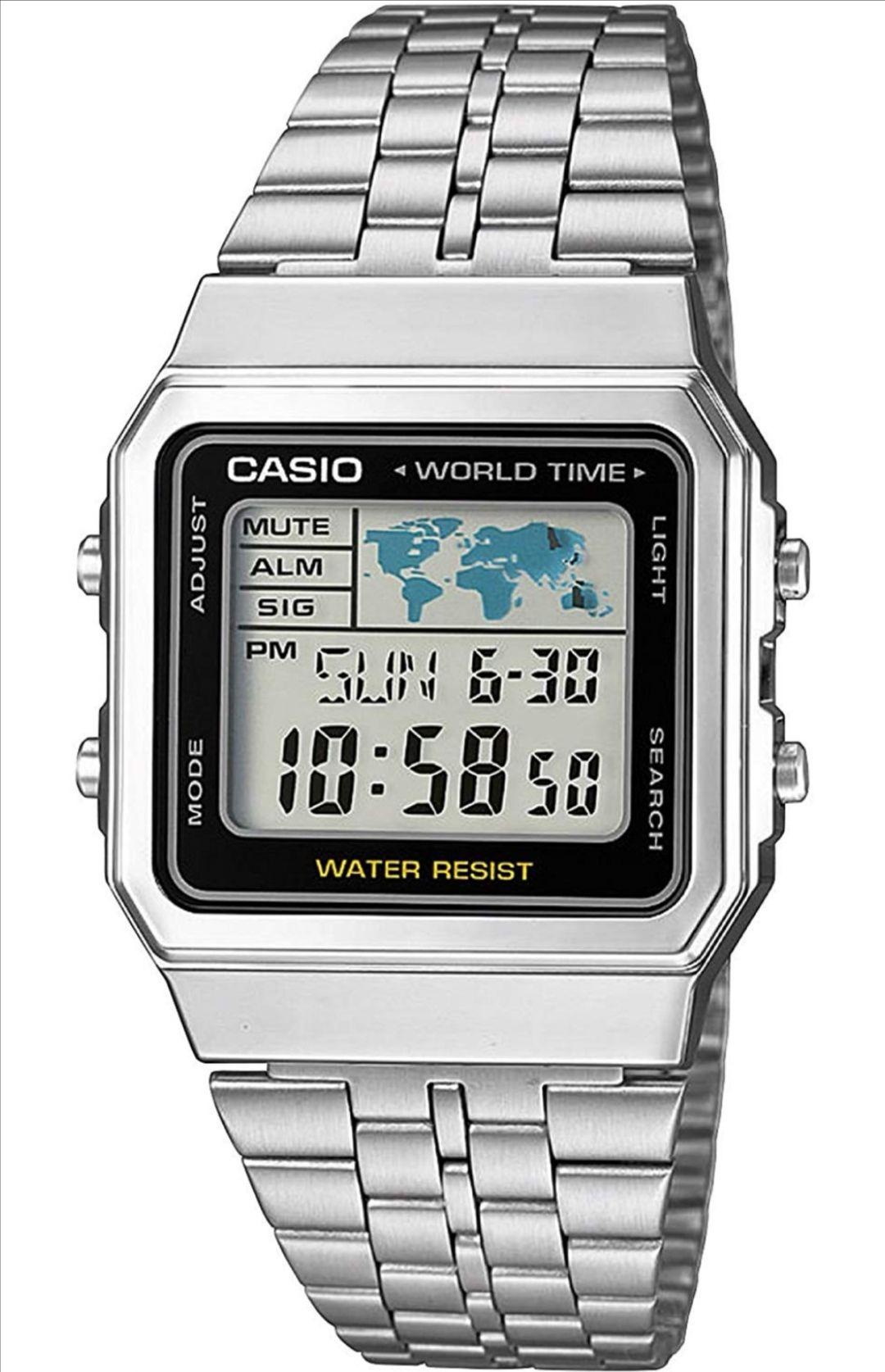 CASIO Reloj Digital para Hombre de Cuarzo con Correa en Acero Inoxidable