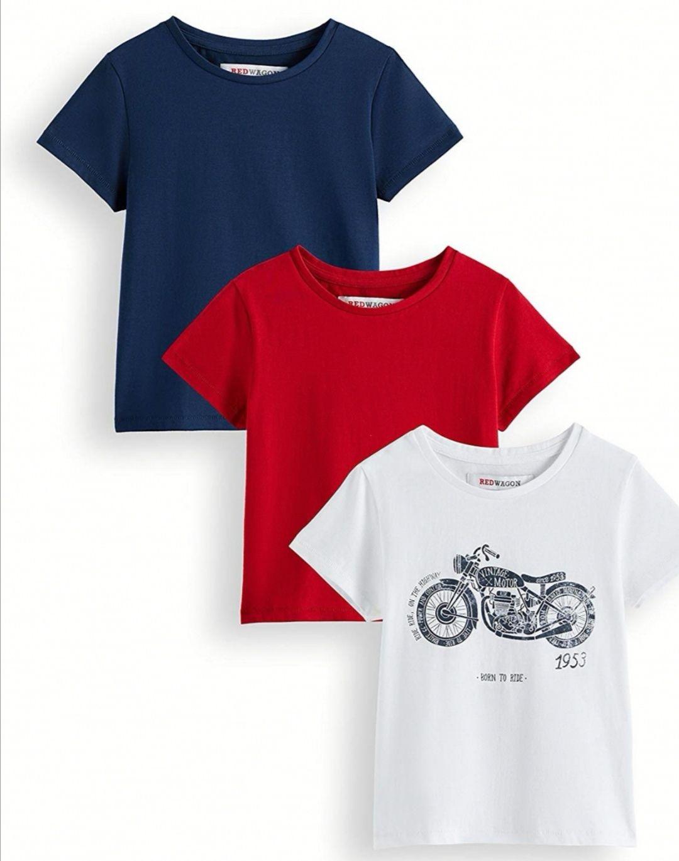 Pack de 3 camisetas niño de algodón.1 camiseta estampada y 2 camisetas lisas