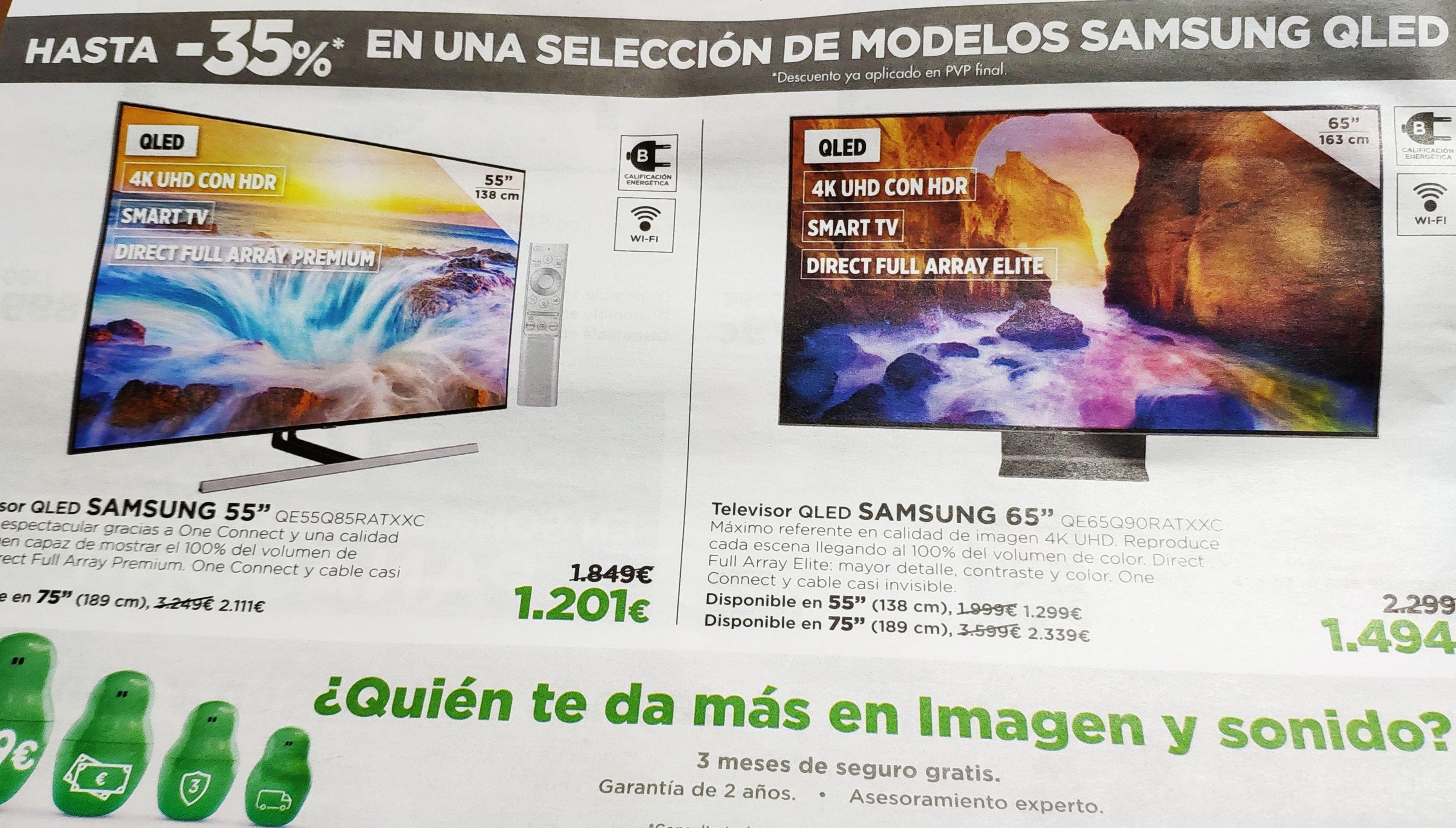 "TV QLED 163 cm (65"") Samsung QE65Q90R 4K, E. CORTE INGLÉS"