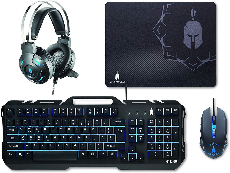 Spartan Gear - Hydra Conjunto para juegos (teclado, ratón, auriculares, alfombrilla) para ordenador (Windows)