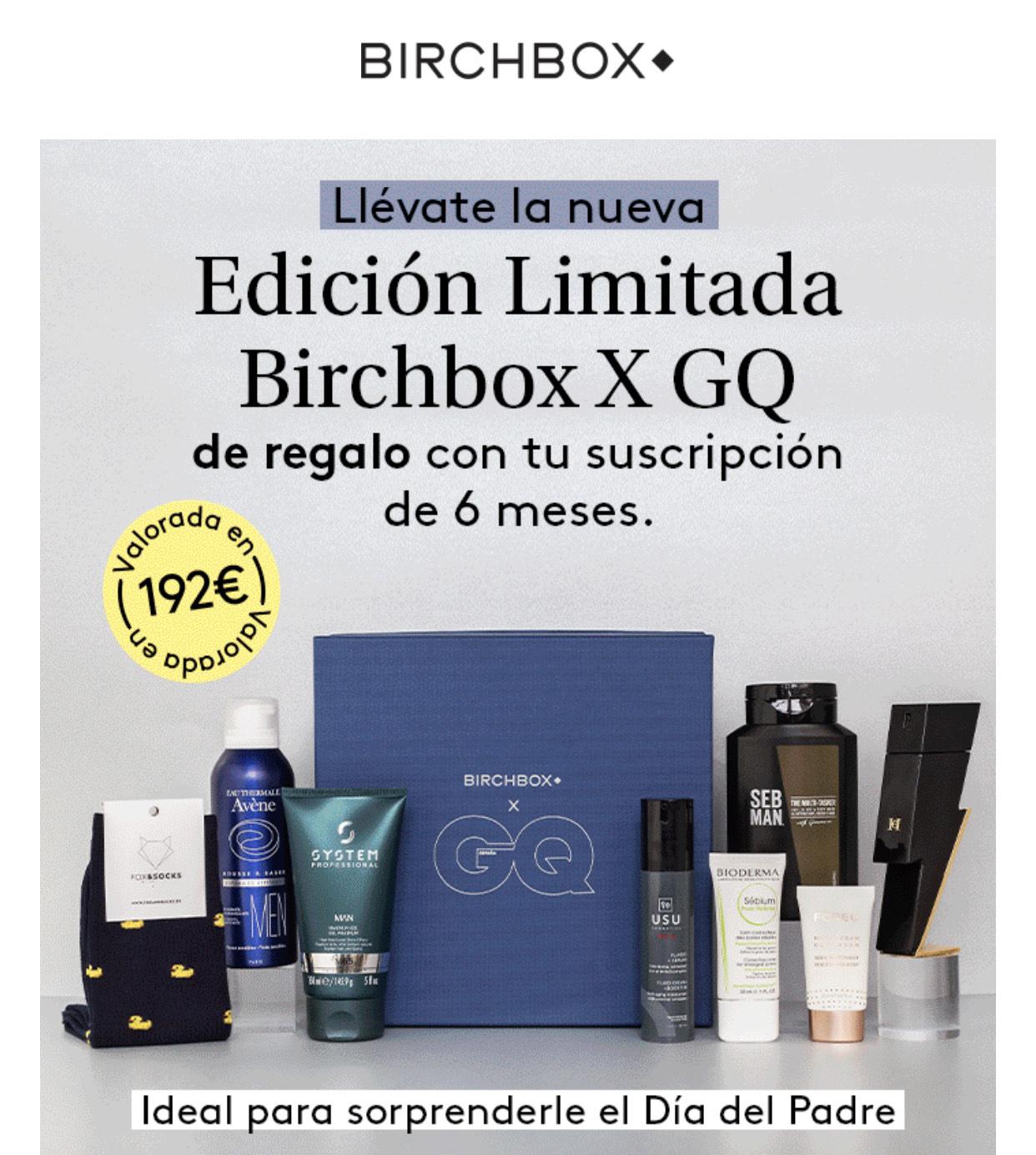 Lote de productos masculinos gratis con la suscripción semestral de birchbox
