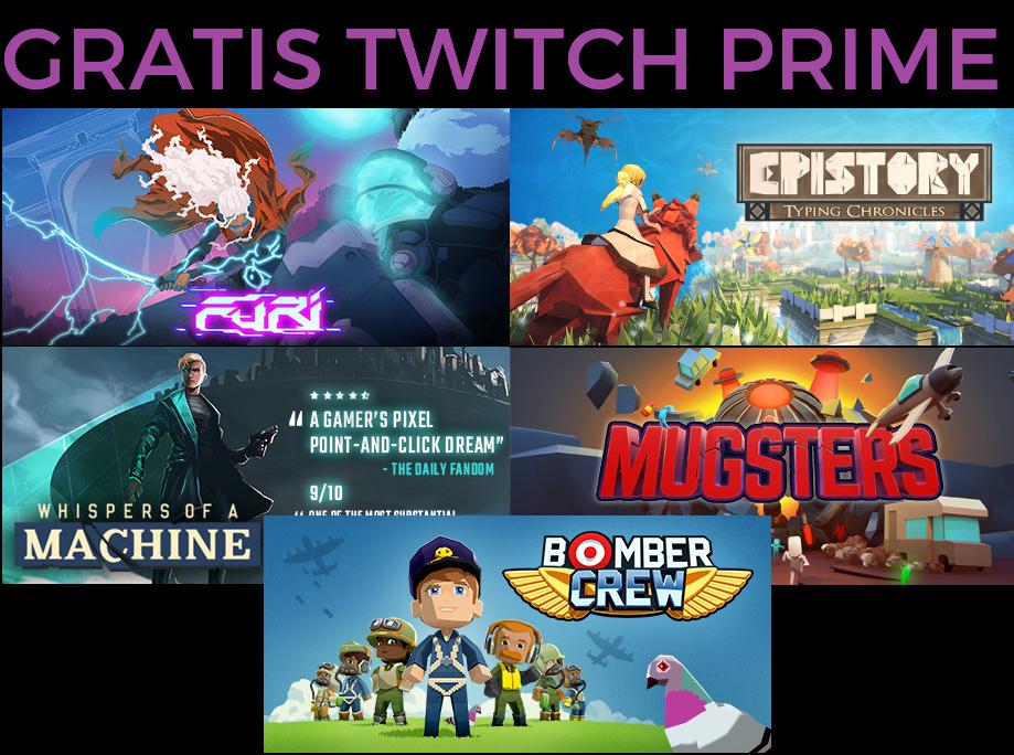 Twitch Prime 5 juegos GRATIS Marzo