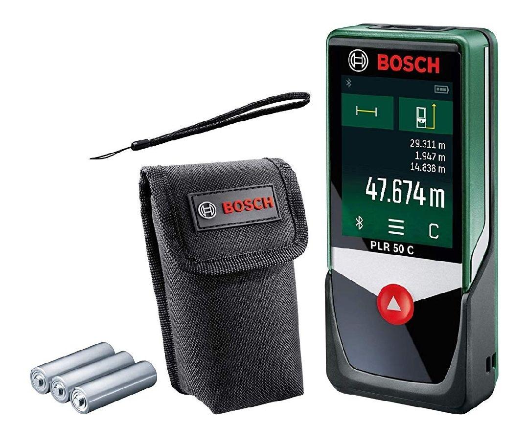 Bosch Medidor de distancias digital PLR 50 C, función de app, 3 pilas AAA, bolsa, alcance: 0,05 - 50 m