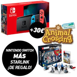 Nintendo Switch 2019 + Starlink + 30€ de descuento Animal Crossing New Horizons