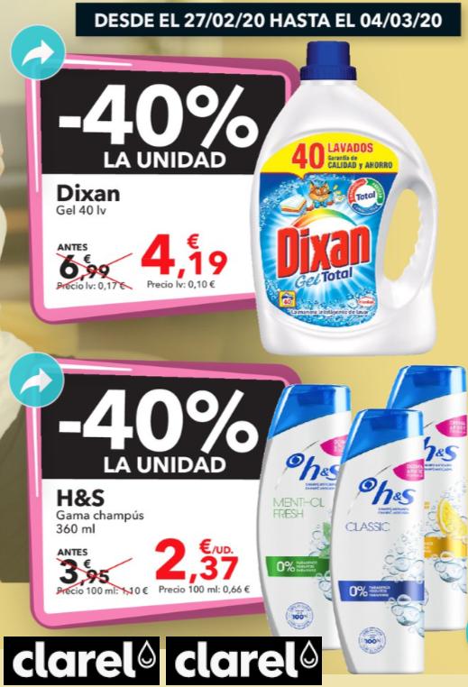 40% de DTO en DIXAN Y H & S en CLAREL