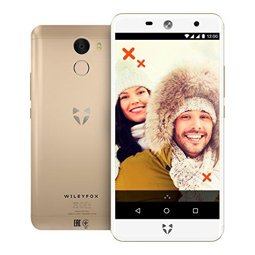 """WileyFox Swift 2 Plus - Smartphone con pantalla de 5"""" (memoria interna de 32 GB, cámara foto de 16 MP, Android) color dorado + funda blanca"""