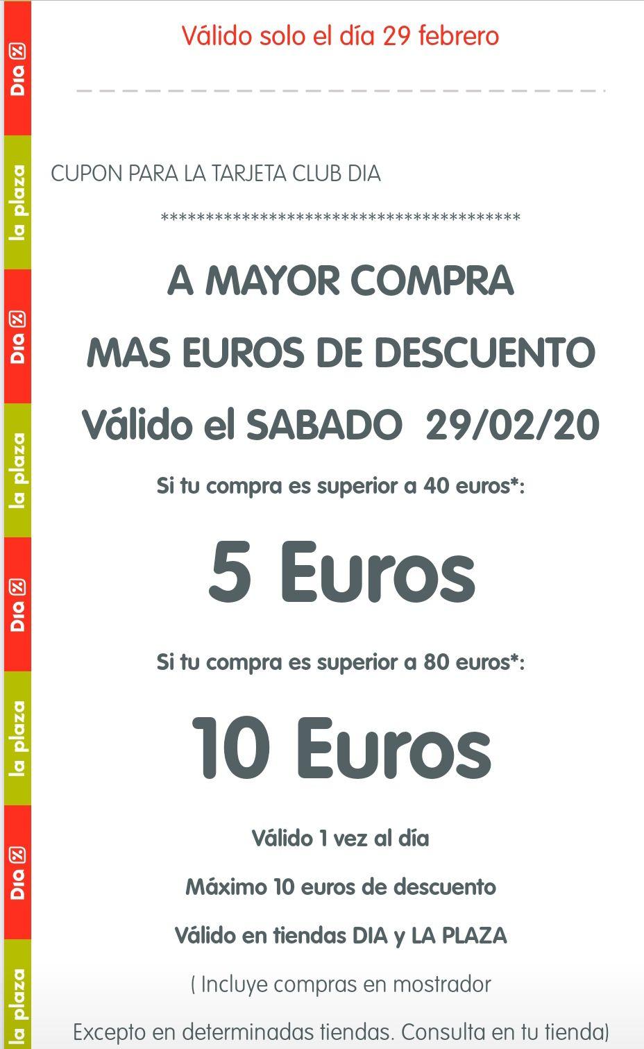 10€ o 5€ de descuento en supermercados DIA