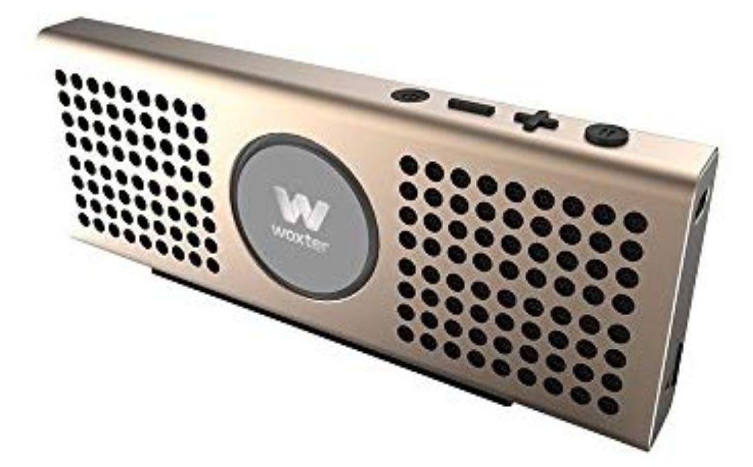 Woxter Big Bass BT-20 Golden- Altavoz portátil Bluetooth Ultracompacto de Aluminio, 10W