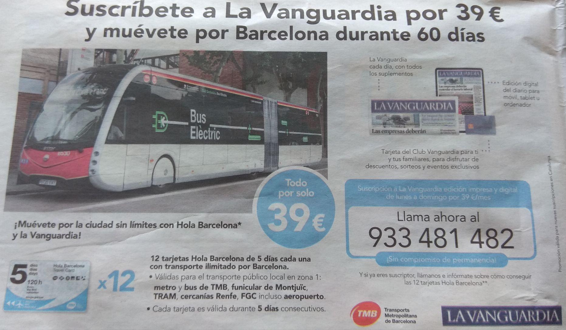 12 Tarjetas Transporte Barcelona(60 días)+Suscripción Papel/Digital(Sin Permanencia)