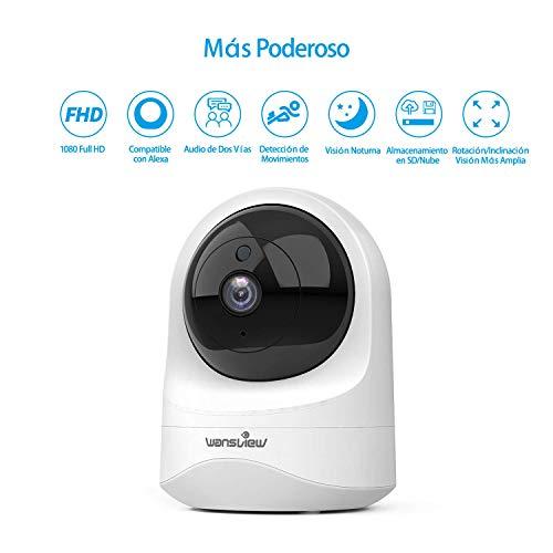 Cámara IP WiFi, 1080P con Visión Nocturna, Detección de Movimiento, Audio Bidireccional, Compatible con Alexa.