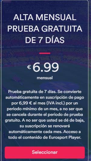 Prueba gratuita de 7 dias, Eurosportplayer