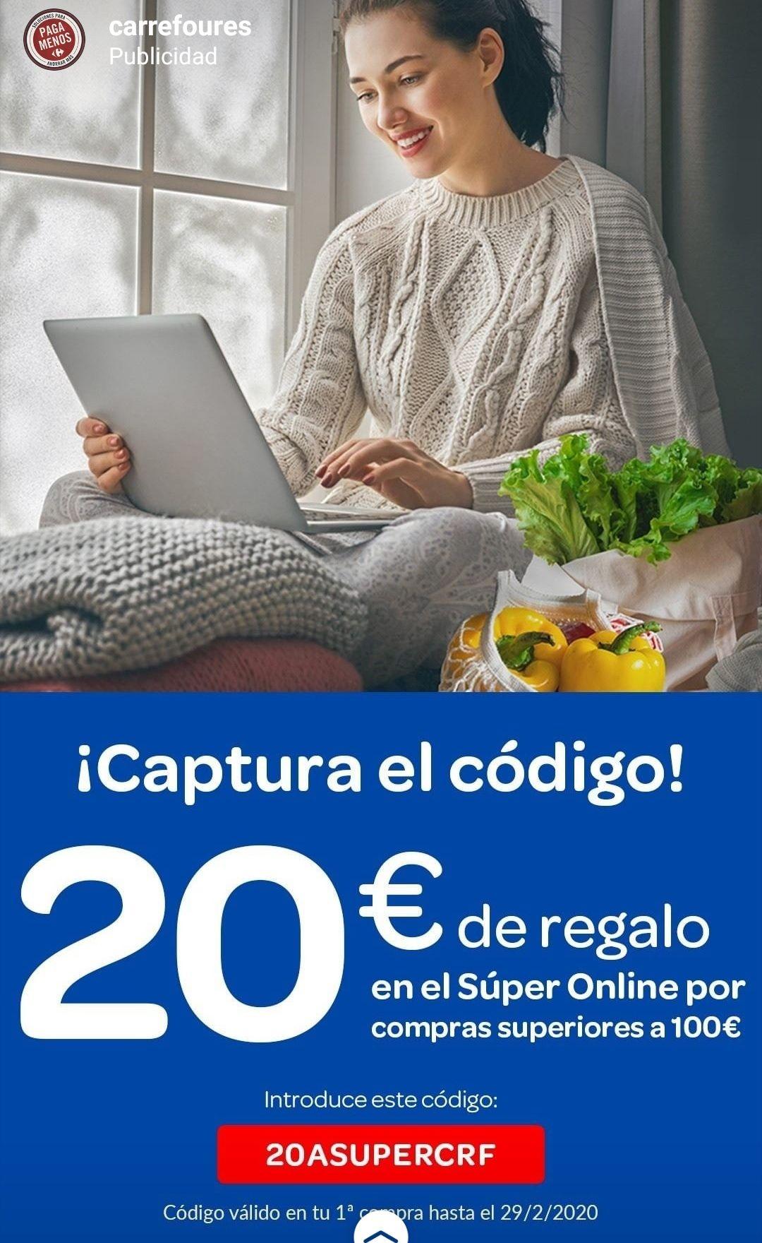 Carrefour 20€ de regalo por compras superiores a 100€