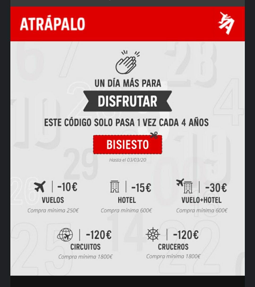 Código de descuento en ATRÁPALO. Hasta 120€