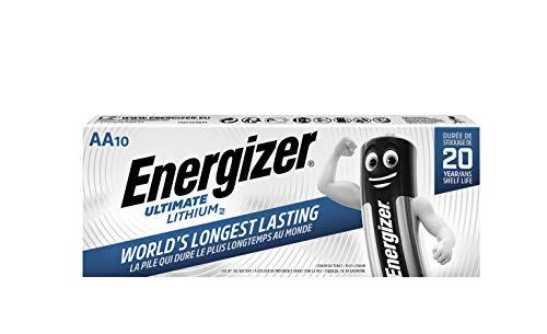 Energizer - Pack de 10 Pilas de Litio Ultimate Lithium AA, 3000 mAh, Family Pack