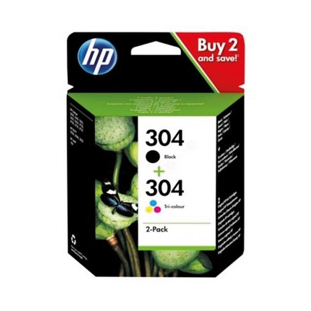 2 paquetes de tinta color y negro HP 304 Negro / Tricolor (3JB05AE) por 33,98