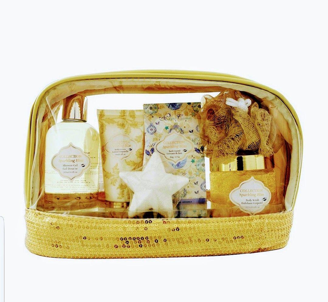 Gloss Set de baño flor blanca y almizcle. Neceser con lentejuelas 6 pcs. Dorado.