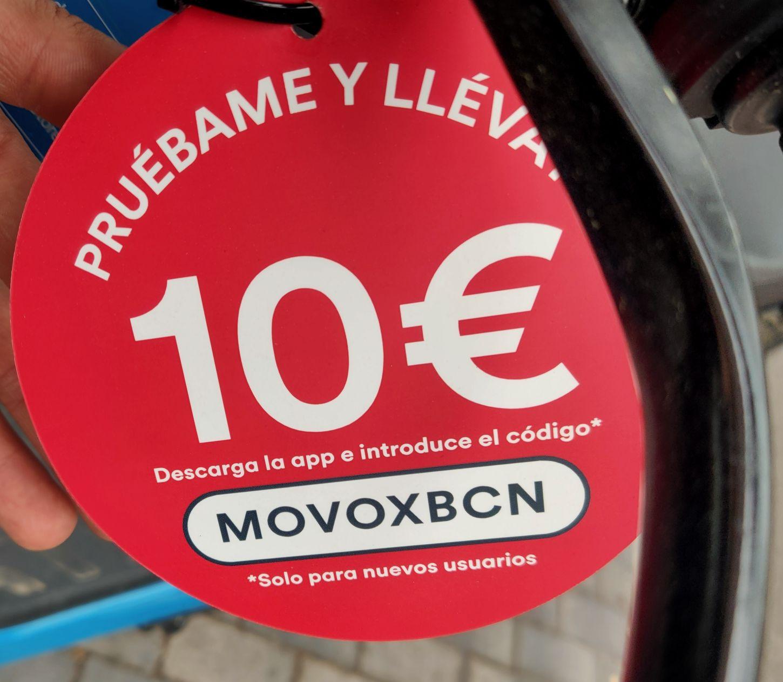 Código de 10€ GRATIS para todos (de momento) los usuarios MOVO en Barcelona