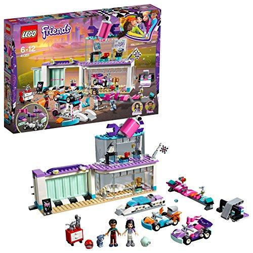 LEGO Friends - Taller de Tuneo Creativo, Juguete con Mini Muñecas y Karts para Imaginar y Recrear Divertidas Carreras de Coches