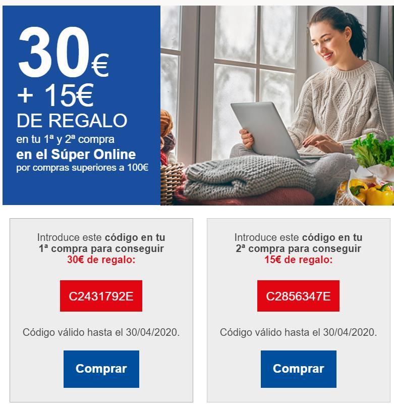 30€ en 100€ para nuevos clientes Supermercado Carrefour