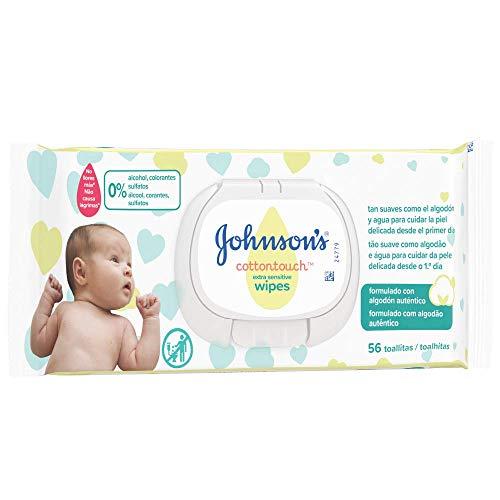 18 packs de 56 Toallitas Johnson's Baby CottonTouch Toallitas con Algodón Auténtico - - Total: 1008 Toallitas para bebe
