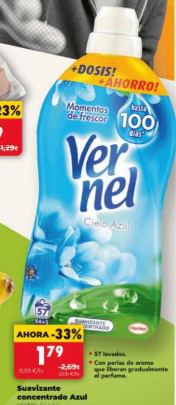 Día suavizante Vernel 1,79€, Cacahuetes Eagle 0,99€, pizza Ristorante 2,49€